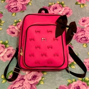 Betsey Johnson Pink Black Backpack Mini Bow Studs